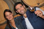 Mladý pár, ochutnávka vína ve sklepě — Stock fotografie