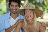 Young summery couple — Stock Photo