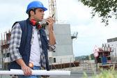 Stavební dělník na místě — Stock fotografie