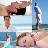 Wellbeing and massage themed collage — Stock Photo