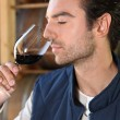 Man smelling red wine fragrances - Stock fotografie