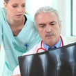 Radiologist and assistant — Stock Photo