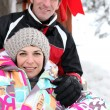 Portrait of couple at ski resort — Stock Photo