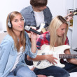 Royalty-Free Stock Photo: Teenagers playing music instruments