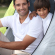 Stock Photo: Father and son camping
