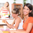 Young women having breakfast together — Stock Photo #7390229