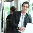 Man working on the bus — Stock Photo
