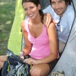 Couple camping — Stock Photo