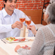 Woman and grandson at the restaurant — Stock Photo