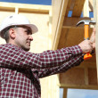 Carpenter with hammer — Stock Photo