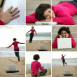 Brunette wearing fuchsia pullover working at beach - Stock Photo