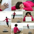 Brunette wearing fuchsia pullover working at beach — Stock Photo