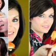 Photomontage of a young woman eating sushis -  