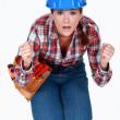 Tradeswoman waiting in anticipation — Stock Photo