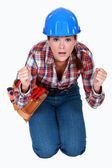 Tradeswoman waiting in anticipation — Stock fotografie