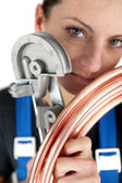 Female plumber — Stockfoto