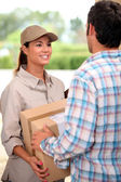 Female courier delivering package — Stock Photo
