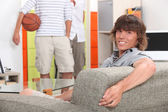 Lads at home with a basketball — Stock Photo