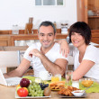 Couple having breakfast together — Stock Photo