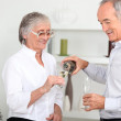 Older couple drinking champagne — Stock Photo