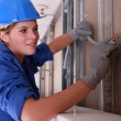 Stock Photo: Blue collar girl