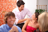 Flirt with a massage — Stock Photo