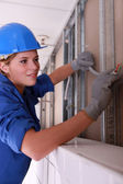 Blue collar girl — Stock Photo