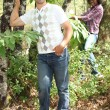 Mixed couple rambling through nature — Stock Photo #7452594