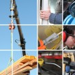 Collage of a construction site and building materials - Stock Photo
