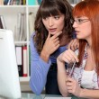 Young women looking at a computer screen — Stock Photo #7455273