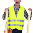 Stock Photo: Mad construction worker