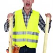 Mad construction worker - Stock Photo