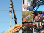Collage of a construction site and building materials — Stock Photo