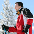 Stock Photo: Skier looking at landscapes