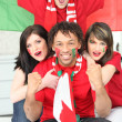Stock Photo: Portuguese football fans celebrating