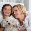 Stock Photo: Mother, daughter and dog