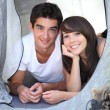 Teenagers camping — Stock Photo