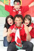 Portuguese football fans celebrating — Stock Photo