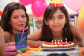 Girl celebrating her fifth birthday — Stock Photo