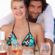 Royalty-Free Stock Photo: Couple relaxing in a beach restaurant