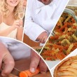 Mosaic of chef preparing meal - Stock Photo