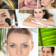 Mosaic of various cosmetic treatments — Stock Photo