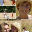 Collage of a family walking in a field — Stock Photo