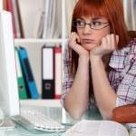 Bored female student — Stock Photo