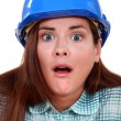 Stock Photo: Shocked womin hard hat