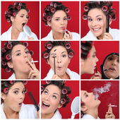 Expressive woman with hair curlers on red background — Stock Photo