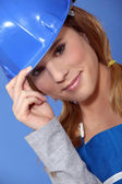 Attractive female labourer — Stock Photo