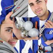 Young electrician, photo-montage — Stock Photo