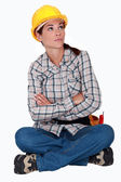 Annoyed construction worker — Stock Photo