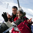 Duo at ski in ski lift — Stock Photo